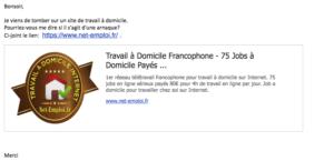 Attention aux faux sites de petites annonces de travail à domicile, comme net-emploi