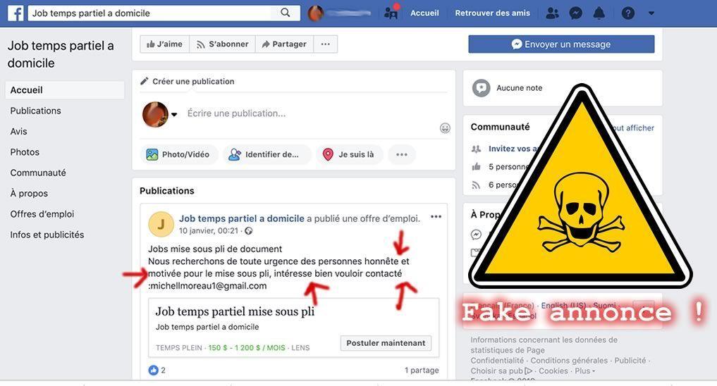 Attention aux annonces de mise sous pli sur Facebook